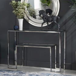 Knightsbridge Glass Console Table - Stainless Steel Chrome Base