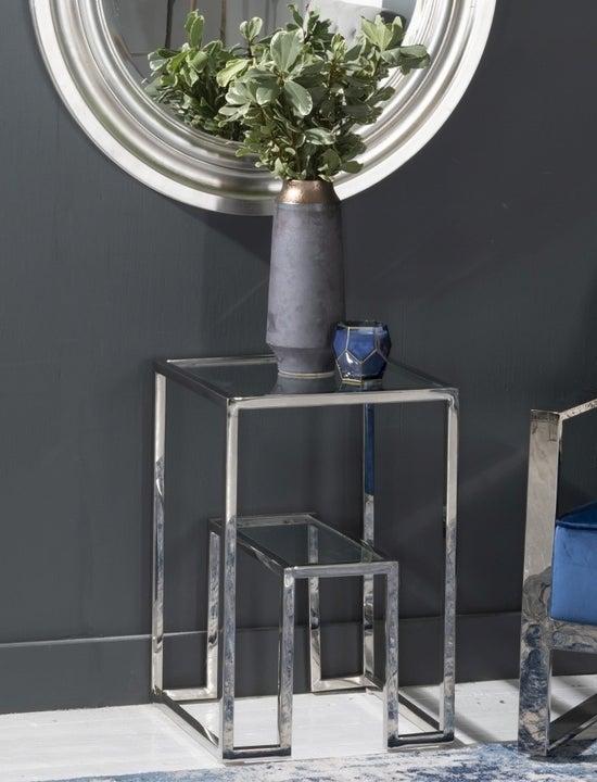 Knightsbridge Glass Side Table - Stainless Steel Chrome Base