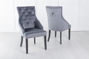 Large Scoop Back Dining Chair With Knocker - Grey Velvet