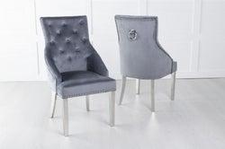 Large Scoop Back Dining Chair With Knocker / Chrome Legs - Grey Velvet