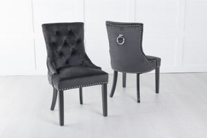 Black Velvet Dining Chair With Knocker / Black Legs - Scoop Back