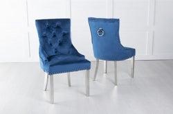 Blue Velvet Dining Chair With Knocker / Chrome Legs - Scoop Back