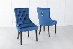 Blue Velvet Dining Chair With Knocker / Black Legs - Scoop Back