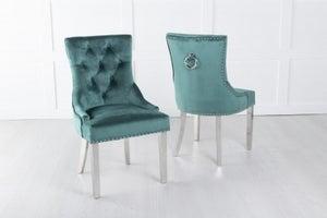 Green Velvet Dining Chair With Knocker / Chrome Legs - Scoop Back