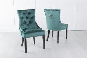 Green Velvet Dining Chair With Knocker - Scoop Back