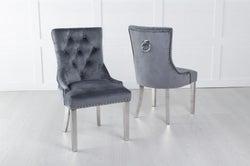 Grey Velvet Dining Chair With Knocker / Chrome Legs - Scoop Back