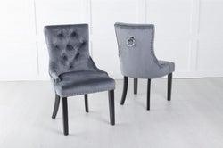 Grey Velvet Dining Chair With Knocker / Black Legs - Scoop Back
