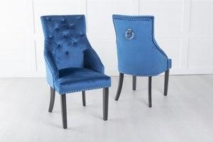 Large Scoop Back Dining Chair With Knocker - Blue Velvet