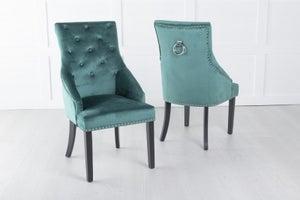 Large Scoop Back Dining Chair With Knocker - Green Velvet