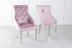 Large Scoop Back Dining Chair With Knocker / Chrome Legs - Pink Velvet