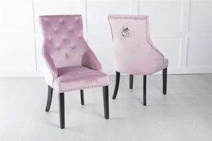 Large Scoop Back Dining Chair With Knocker - Pink Velvet