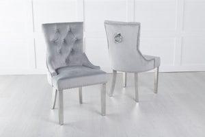Light Grey Velvet Dining Chair With Knocker / Chrome Legs - Scoop Back