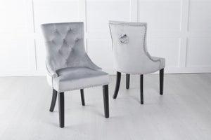 Light Grey Velvet Dining Chair With Knocker / Black Legs - Scoop Back
