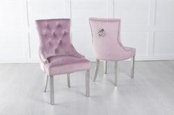 Pink Velvet Dining Chair With Knocker / Chrome Legs - Scoop Back