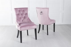 Pink Velvet Dining Chair With Knocker - Scoop Back
