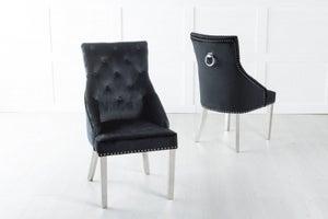 Large Scoop Back Dining Chair With Knocker / Chrome Legs - Black Velvet