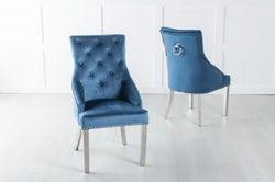 Large Scoop Back Dining Chair With Knocker / Chrome Legs - Blue Velvet