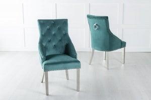 Large Scoop Back Dining Chair With Knocker / Chrome Legs - Green Velvet