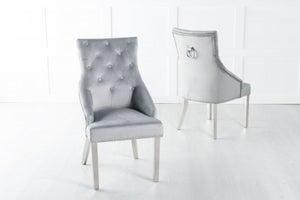 Large Scoop Back Dining Chair With Knocker / Chrome Legs - Light Grey Velvet