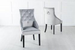 Large Scoop Back Dining Chair With Knocker - Light Grey Velvet