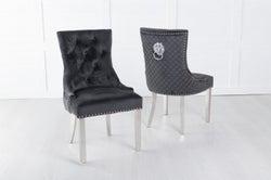 Black Velvet Lion Knocker Dining Chair / Chrome Legs - Scoop Back