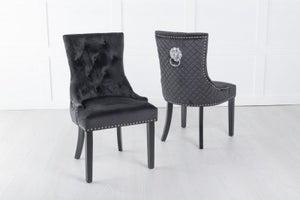 Black Velvet Lion Knocker Dining Chair / Black Legs - Scoop Back