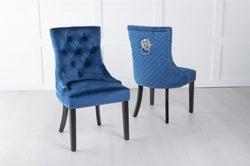 Blue Velvet Lion Knocker Dining Chair / Black Legs - Scoop Back
