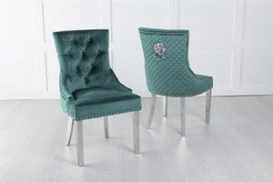 Green Velvet Lion Knocker Dining Chair / Chrome Legs - Scoop Back