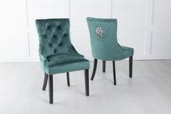 Green Velvet Lion Knocker Dining Chair / Black Legs - Scoop Back