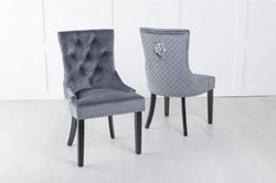 Grey Velvet Lion Knocker Dining Chair / Black Legs - Scoop Back