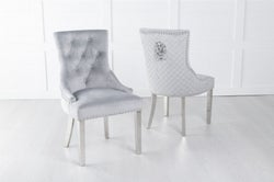 Light Grey Velvet Lion Knocker Dining Chair / Chrome Legs - Scoop Back