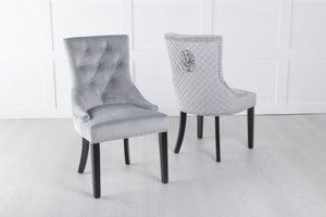 Light Grey Velvet Lion Knocker Dining Chair / Black Legs - Scoop Back