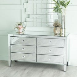 Lucia Mirrored 6 Drawer Wide Chest