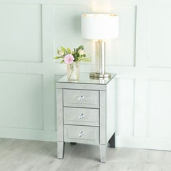 Lucia Mirrored 3 Drawer Bedside Cabinet