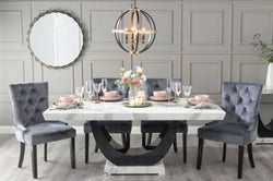 Urban Deco Madrid 180cm White Marble Dining Table with 6 Grey Knockerback Chairs