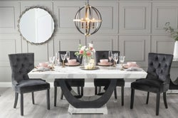 Urban Deco Madrid 200cm White Marble Dining Table with 6 Black Knockerback Chairs