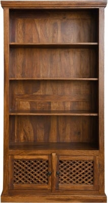 Maharani Sheesham Tall Bookcase with Cupboard Base