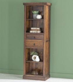 Maharani Sheesham Tall Narrow Alcove Bookcase - 2 Drawers