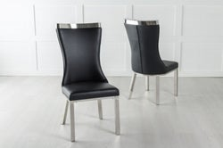 Maison Dining Chair with Chrome Legs - Black Leather