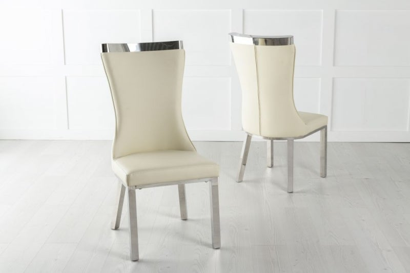 Maison Dining Chair with Chrome Legs - Cream Leather