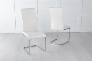 Malibu Cream Leather Dining Chair with Brushed Stainless Steel Cantiliver Base