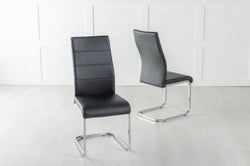 Malibu Black Leather Dining Chair with Brushed Stainless Steel Cantiliver Base