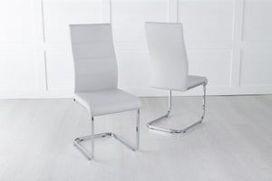 Malibu Grey Leather Dining Chair with Brushed Stainless Steel Cantiliver Base