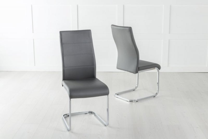 Malibu Dark Grey Leather Dining Chair with Brushed Stainless Steel Cantiliver Base