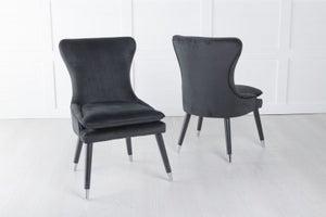 Mason Padded Dining Chair with Silver Caps Black Legs - Black Velvet