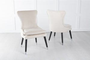 Mason Padded Dining Chair with Silver Caps Black Legs - Champagne Velvet