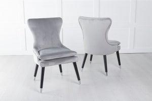 Mason Padded Dining Chair with Silver Caps Black Legs - Light Grey Velvet
