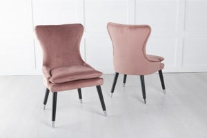 Mason Padded Dining Chair with Silver Caps Black Legs - Pink Velvet