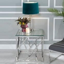 Urban Deco Maze Glass and Chrome Side Table