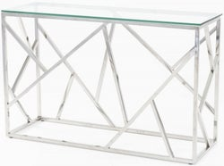 Urban Deco Maze Glass and Chrome Console Table